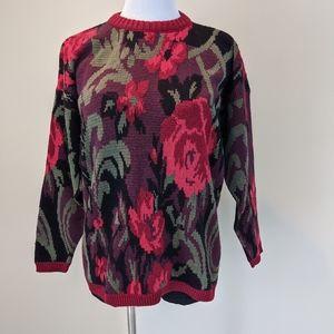 Vintage baroque rose printed sweater